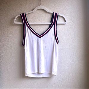 AEO White Tank Top Navy & Orange Striped Straps